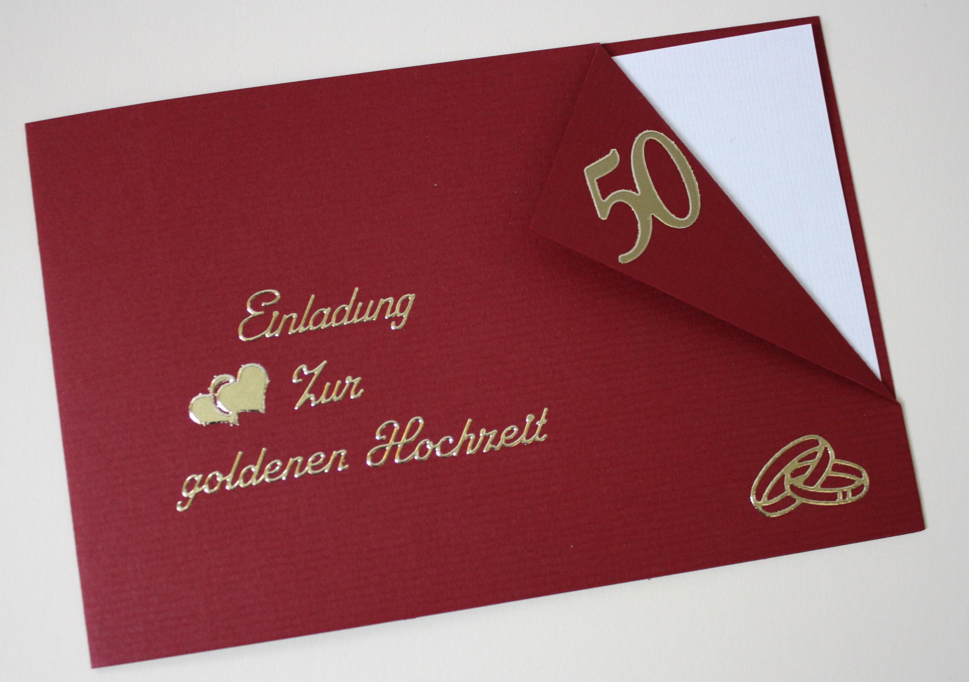 Einladungskarte Zur Goldenen Hochzeit Incl Passendem Umschlag